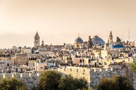 Skyline of the Old City at Christian Quarter of Jerusalem, Israel, Middle east