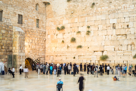 People approaching the Western Wall i Jerusalem, Israel, Middle east Editorial