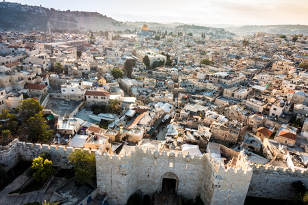 damascus: Skyline of the Old City in Jerusalem with Damascus Gate, Israel. Middle east Stock Photo