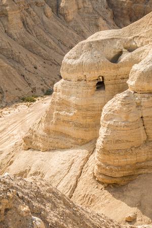 isaiah: Cave in Qumran, where the dead sea scrolls were found, Israel