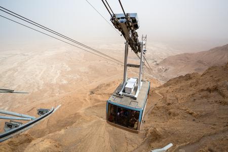 masada: Cable car going to famous Masada, Dead Sea Region, Israel