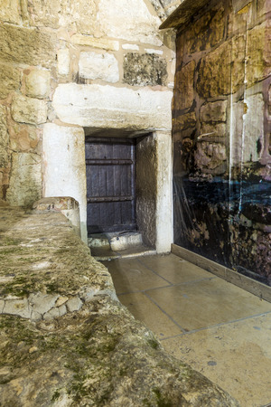 bible christmas: Main door to Church of Nativity, Bethlehem, Palestinian Autonomy, Middle East Stock Photo