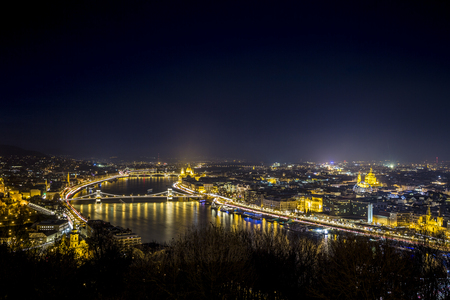 the night sky: Night cityscape of Budapest, capital city in Hungary, Europe