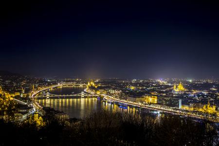 sky night: Night cityscape of Budapest, capital city in Hungary, Europe