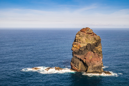 crush on: Atlantic waves crush single rock near to Madeira coast, Portugal