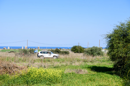 nation: Famagusta, Northern Cyprus - March 21, 2016: United Nation car in Buffer Zone close to Famagusta