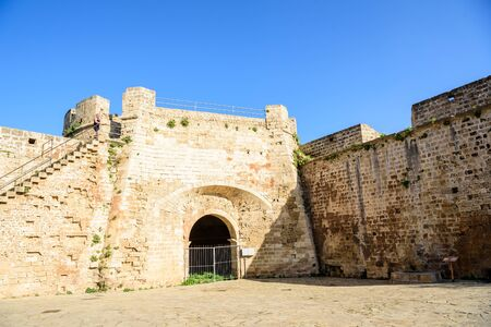 stronghold: Famagusta city walls leading to Otello Stronghold, Northern Cyprus Stock Photo