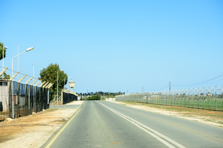 buffer: United Nation Buffer Zone between Republic of Cyprus and Turkish Republic of Northern Cyprus Stock Photo