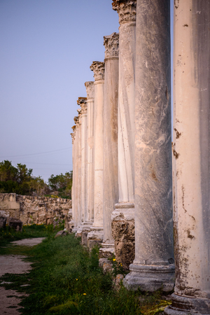 apostle paul: Pillars in a row in Salamis located in eastern part of Cyprus, Northern Cyprus Stock Photo
