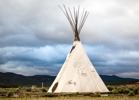 teepee: Native Americans Teepee with drawings in New Mexico, USA