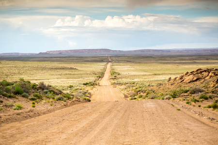 chaco: Long, straight dirt road leading to Chaco Canyon, New Mexico