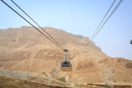 judaean desert: Cable car going to famous Masada, Dead Sea Region, Israel