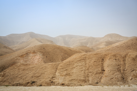 Wilderness of Judah, desert mountains approaching Dead Sea, Israel