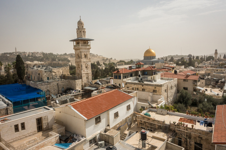 dome of the rock: Regular houses in Jerusalem with famous Dome on the Rock