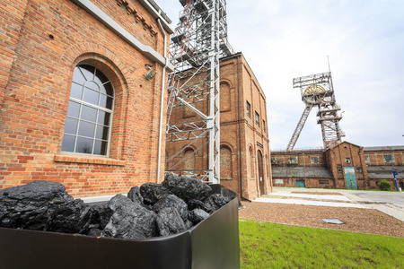 Coal mine, two mining shaft and a cart full of fuel, Rybnik