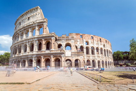 Colosseum in the city center of Rome, Italy is the largest amphitheatre ever built