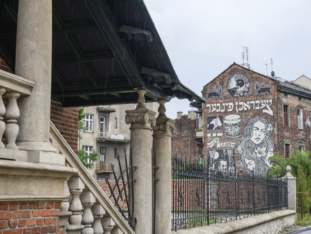 Krakow, Poland - June 17, 2016: City center of Krakows Jewish part called Kazimierz