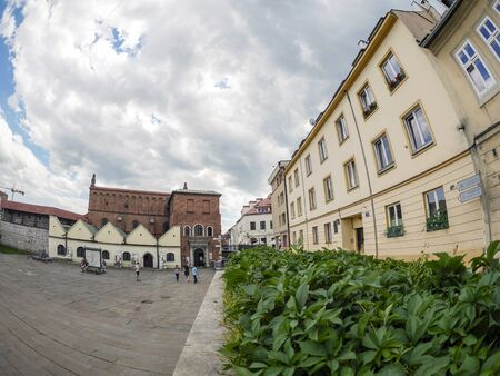 Krakow, Poland - June 17, 2016: Szeroka Street of Krakows Jewish part called Kazimierz Editorial