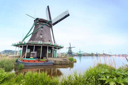 Old, wooden windmills in Zaanse Schans, The Netherlands