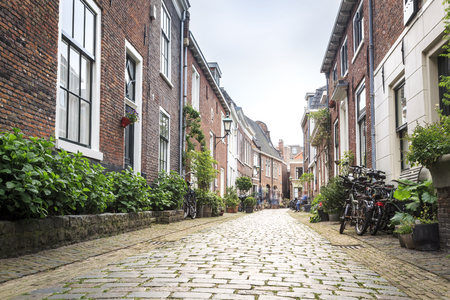 Charming street in old city of Haarlem, The Netherlands
