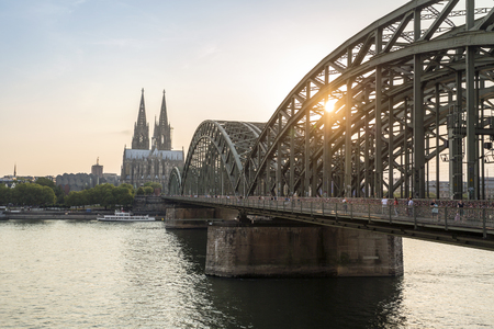 Koln cityscape with cathedral and steel bridge, Germany, Europe Stock Photo