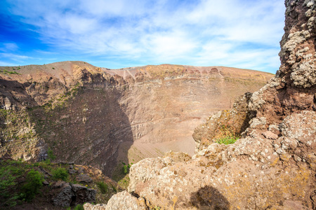 Stones and ashes in active Vesuvius crater, Italy
