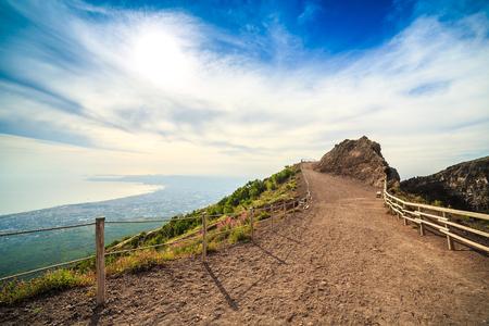 Vesuvius path around crater, Campania, Italy . Stock Photo