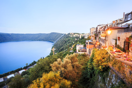 lazio: Albano Lake shore and city of Castel Gandolfo, Lazio, Italy Stock Photo