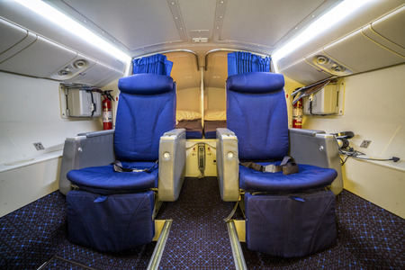 enables: Luxury cabin for pilot and copilot that enables them to rest and sleep during flight Stock Photo