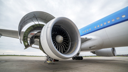 Side view of airplanes engine during maintenance Stock Photo