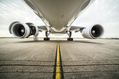 aluminum airplane: Maintenance of a big airplane at the airport Stock Photo
