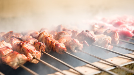 Delicious greek food - barbecued pieces of meat called souvlaki