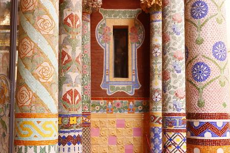 Window with columns on balcony of Palau de la Musica, Barcelona, Spain
