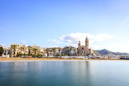 City center of beautiful Sitges, Catalonia, Spain