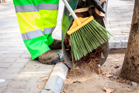 tree removal service: Cleaning a city during autumn time, Spain