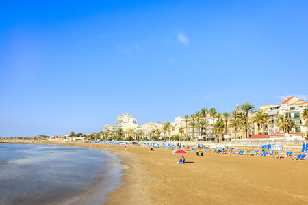 Wide, sandy beach in beautiful Sitges, Catalonia, Spain