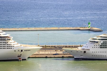 ship bow: Two passenger ships ready for cruise in port