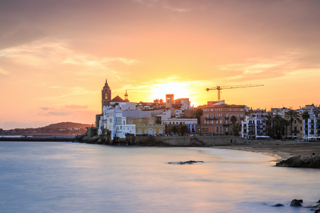 Beautiful town of Sitges at sunset, Catalonia, Spain Stock Photo