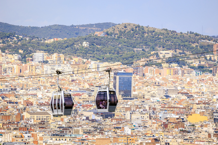 montjuic: Cable car between coast and Montjuic hill, Barcelona, Spain Stock Photo