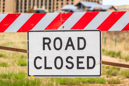 Road closed warning sign, United States of America