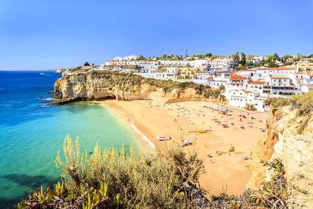 Beautiful beach and architecture in Carvoeiro, Algarve, Portugal 版權商用圖片