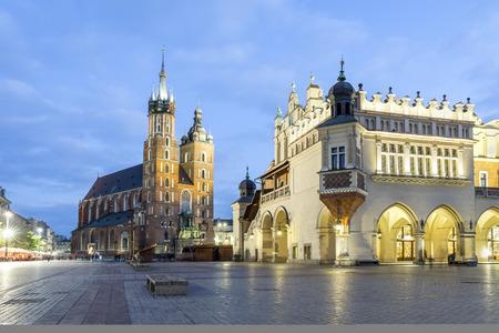 marys: Cloth Hall and Marys Church in city center of Krakow, Poland Stock Photo