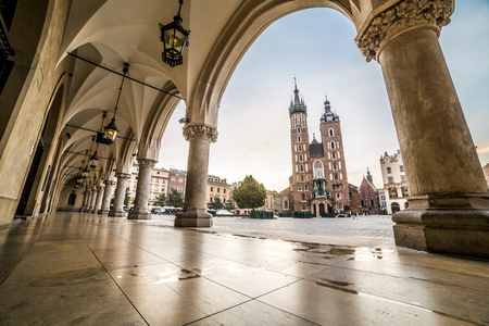 Market square in historic city of Krakow, Poland