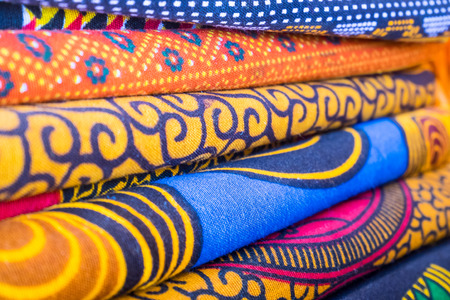Colorful african fabrics in a shop .  Stock Photo