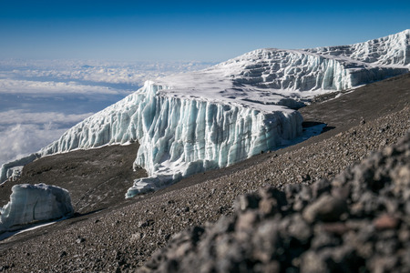 Glaciers on Kibo, Mount Kilimanjaro, Tanzania, Africa 写真素材