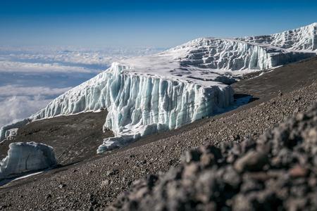 Glaciers on Kibo, Mount Kilimanjaro, Tanzania, Africa Stock Photo