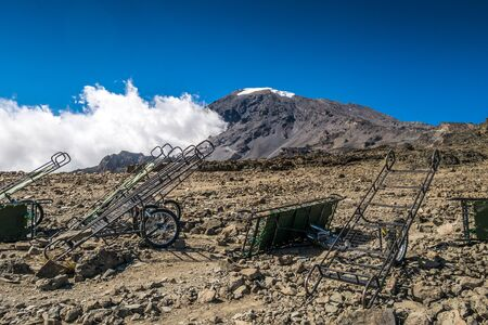 emergency cart: Peak of Kilimanjaro with emergency carts allowing to transport injured person down