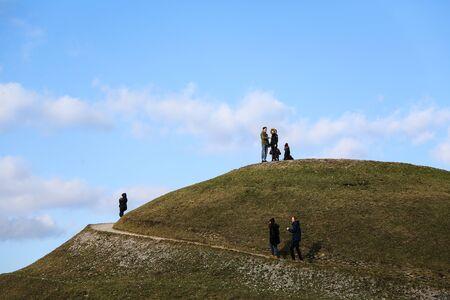 Krakow, Poland - March 11, 2017: A few tourists on Krakus Mound