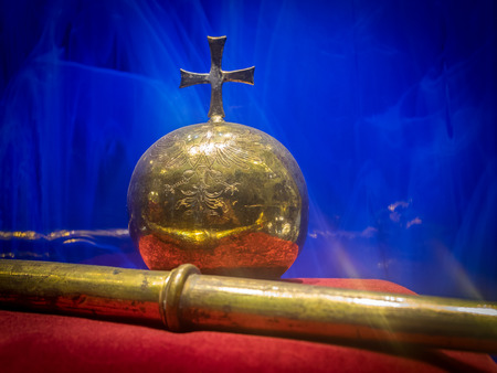 scepter: Old orb with cross and scepter in a museum