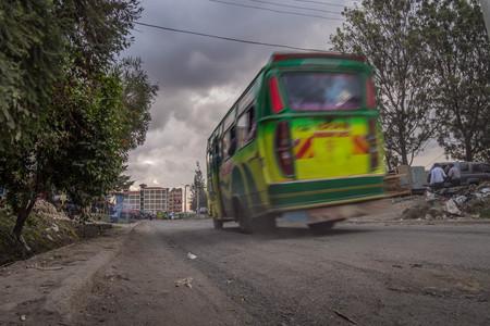 third world: Public transportation - colorful bus - in Nairobi, capital city of Kenya Stock Photo